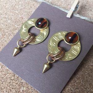 John Michael Richardson etched gold bead earrings